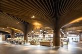 来自koichi takada建筑事务所的建筑师,为澳大利亚的悉尼的东村城市市场创建了一种与众不同的自然环境,力图为他们提供独特的购物体验。这件设计的风格受附近的公园和景观影响,因而选择木材作为主要表现材料,以此质地来强调树状柱体结构,并在柱体顶端发散出去,与天花板结合为一体。(实习编辑:刘嘉炜)