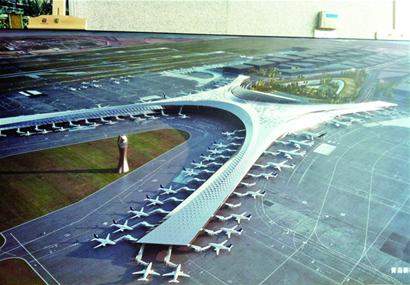 青岛胶东新机场航站楼比肩京沪 俯瞰像大海星 组图