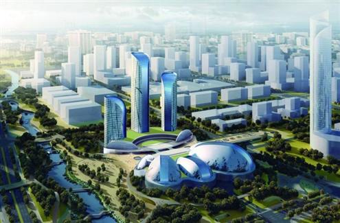 省城西客站片区成开发商争夺焦点.图为西客站核心片区效果图-济南高清图片