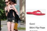 林赛-罗韩(Lindsay Lohan)穿着一双Gucci Bikini Flip-Flops 平底凉鞋,搭配短裤清爽自然。