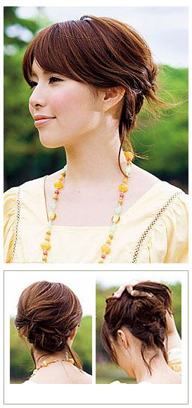发型1:甜美感盘发 发型分析:这款发型diy真是超简单,只需要将后面的