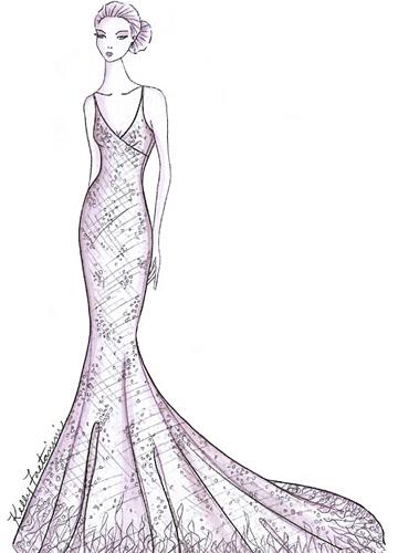 婚纱设计手稿素描图 礼服设计图手稿 衣服的画法 素描鱼尾裙婚纱图手稿