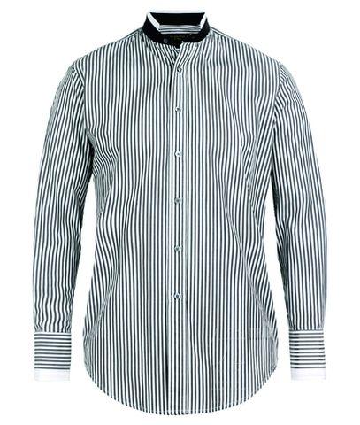 SHANGHAITANG竖条纹立领衬衫