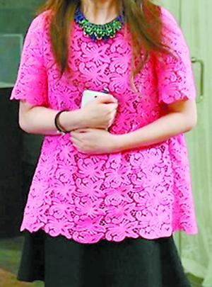 尹恩惠  桃红蕾丝衫