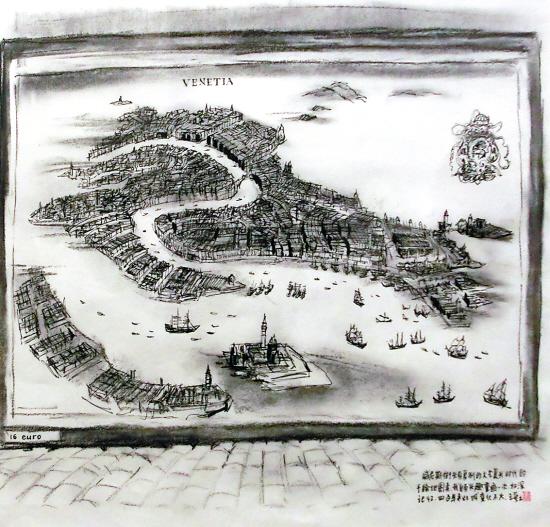 手绘地图 威尼斯街头复制的文艺复兴时期的手绘地图
