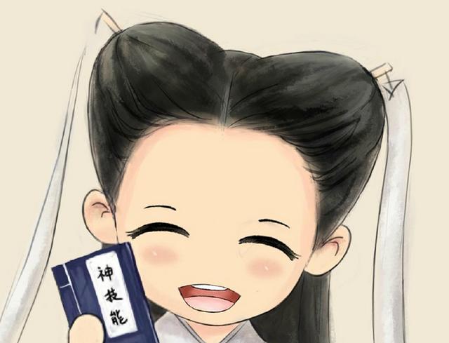 """25日晚上,陈妍希晒出一张小龙女的卡通照片,并写道""""#小龙女神技能图片"""
