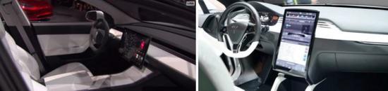 左图为Model 3 中控屏,右图为Model S 中控屏(图片来自electrek)