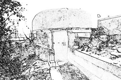 张公堤碉堡现状素描图片