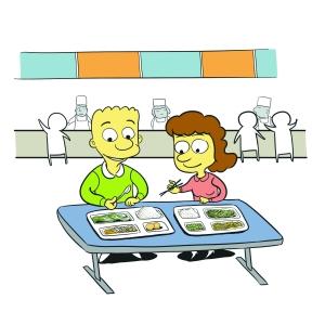 儿童家庭吃饭漫画