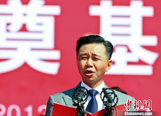 6日上午,美国JM集团总裁王文祥在奠基仪式上致辞。 张浩 摄