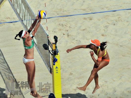 沙滩排球 世界巡回赛北京大满贯:巴西选手获女子组