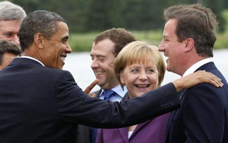 美国总统奥巴马与英首相卡梅伦、德总理默克尔、俄总理梅德韦杰夫等人会面