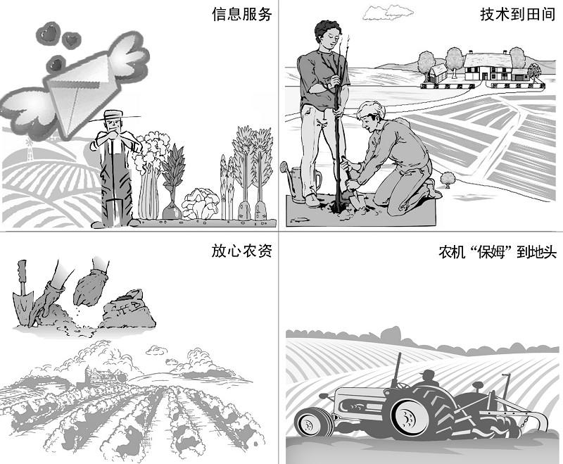 农民种地手绘图片