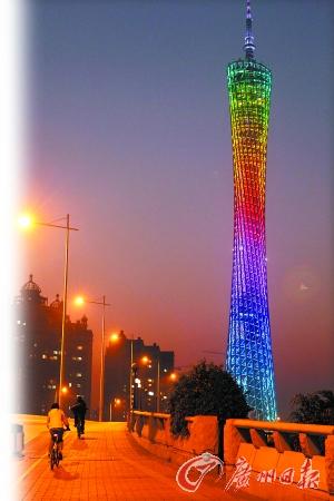 晚霞映衬下的广州塔