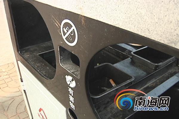 烟头扔进垃圾桶的标志