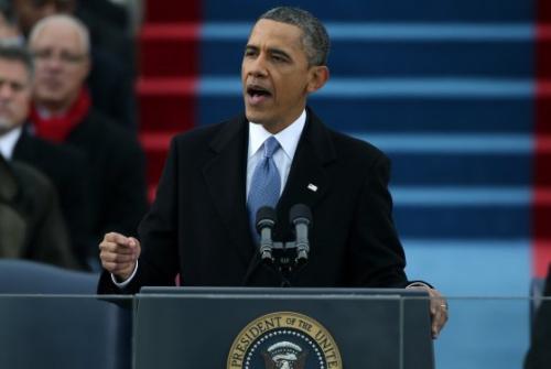 图为奥巴马发表就职演讲。