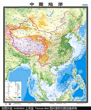《中国地形》资料图片-2013新编竖版 中国地图推出
