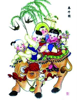 《春牛图》天津杨柳青年画图片