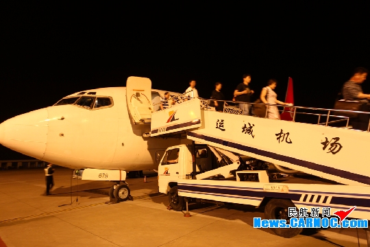 图3:5月12日晚21:10昆明航空飞机首飞运城关公机场 (供稿:运城民航