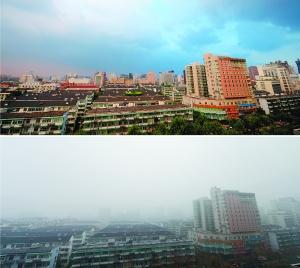 在不同天气状况下拍摄的杭州市区同一地点的对比照片:下图摄于昨日;上图摄于2012年8月6日。新华社 图