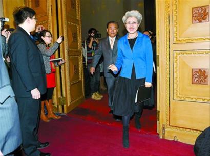 大会新闻发言人傅莹向中外记者介绍了十二届全