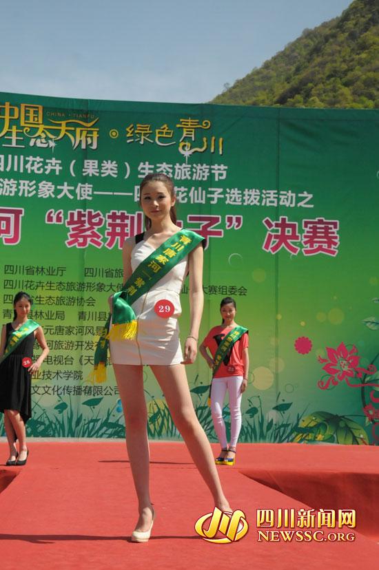 身高180长腿美女青川唐家河景区角逐紫荆仙