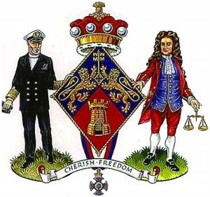撒切尔夫人的纹章,海军代表马岛之战,牛顿代表她的家乡林肯郡.