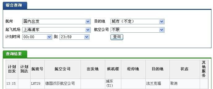 今天上海至法兰克福LH729航班取消 东方网记者杜丽华4月22日报道:德国汉莎航空公司20日宣布,因受罢工影响,该航空公司决定取消其22日几乎所有国内国际航班。取消航班中15架次涉及中国航班,今天13:15上海飞往法兰克福的LH729航班因此取消。 据了解,因劳资纠纷尚未谈拢,德国服务行业工会筹划22日举行警告性罢工。作为应对,汉莎宣布取消当天几乎所有航班。22日计划飞行的超过1650架次短途航班中,仅剩大约20架次照常飞行,长途航班大部分被取消。 实际上,受罢工影响的航班并不局限于22日当天,20日、