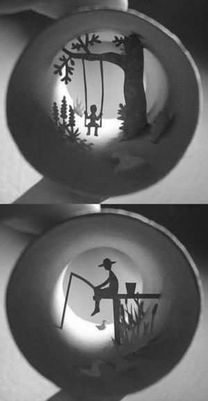 卫生纸桶手工diy壁画