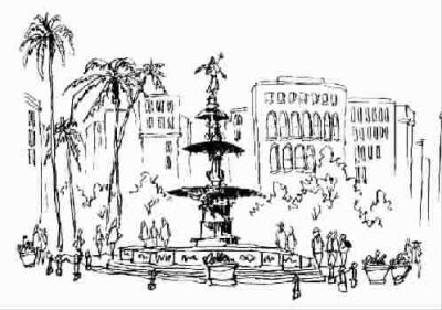 钢笔画世界 杨秉辉 画文 秘鲁位于南美洲西北部,为南美洲第三大国。秘鲁近年经济逐步发展,与我国颇多商贸往来。利马人口约900万,为该国第一大城。1821年独立后定为国都。利马老城居利马克河北,城中多殖民地时期建筑,其城中心为武器广场,广场四周有放射状道路通向四面八方。南美洲许多城市的中心广场皆称武器广场,据说是殖民地时期存放军火武器的旧称。武器广场中心有古罗马喷水池样水盘,其上有天使像,广场四周有市政厅、总统府等建筑。