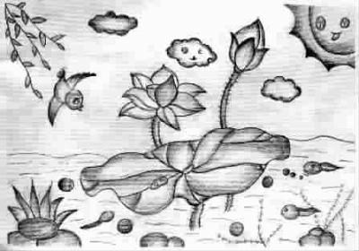 荷塘(儿童画)