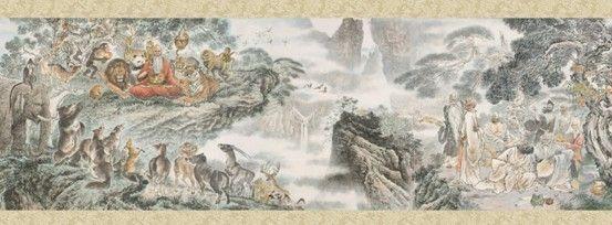 国际书画大师野石先生手指画长卷《大同世界》绽放京交会