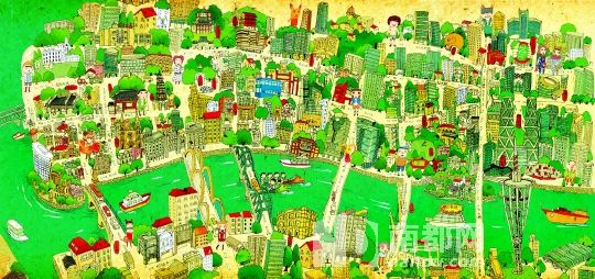 广州美食地图儿童画_广州塔手绘简图