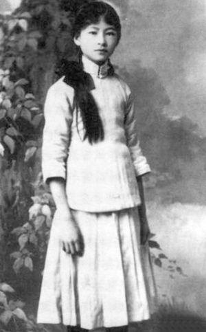 人像是林徽因的剪影,她穿着旗袍,背靠西湖,在香樟树的依偎下,美得就像