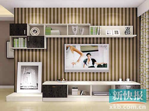 通常是电视背景墙做柜子,而沙发背景墙用装饰画装饰,或者安装墙面搁板