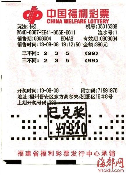 福州两彩民合买快3 中奖7920元