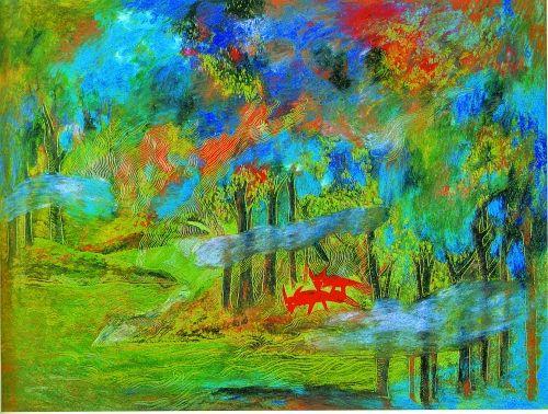 森林(油画棒)37.5cm×27.5cm   王苗
