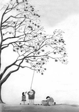 女人向日葵遮眼手绘