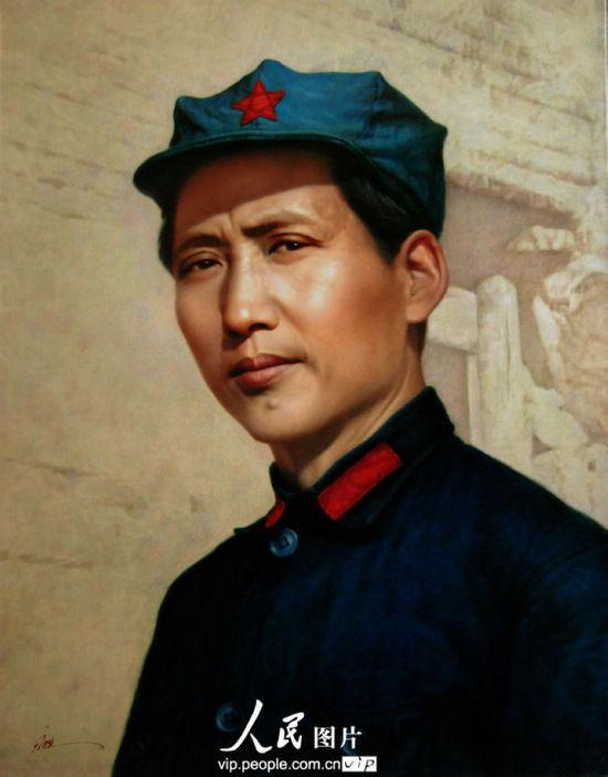 著名画家于广胜绘就的高度写实油画毛泽东高清复原画像《1936毛泽东在陕北》将向公众亮相。(2013年11月13日摄)