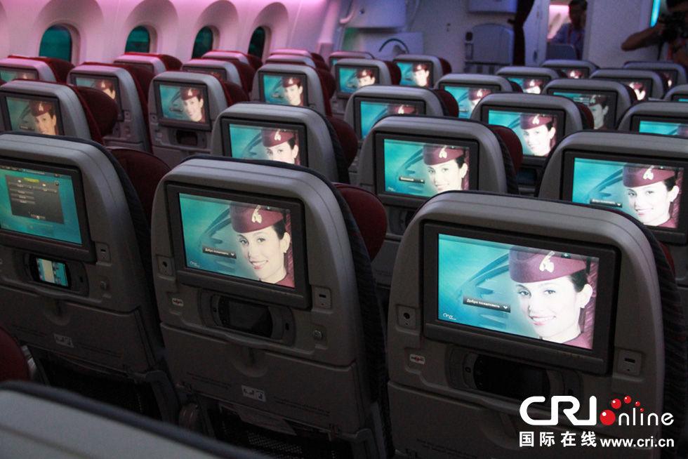 """波音787""""梦想""""客机经济舱内"""
