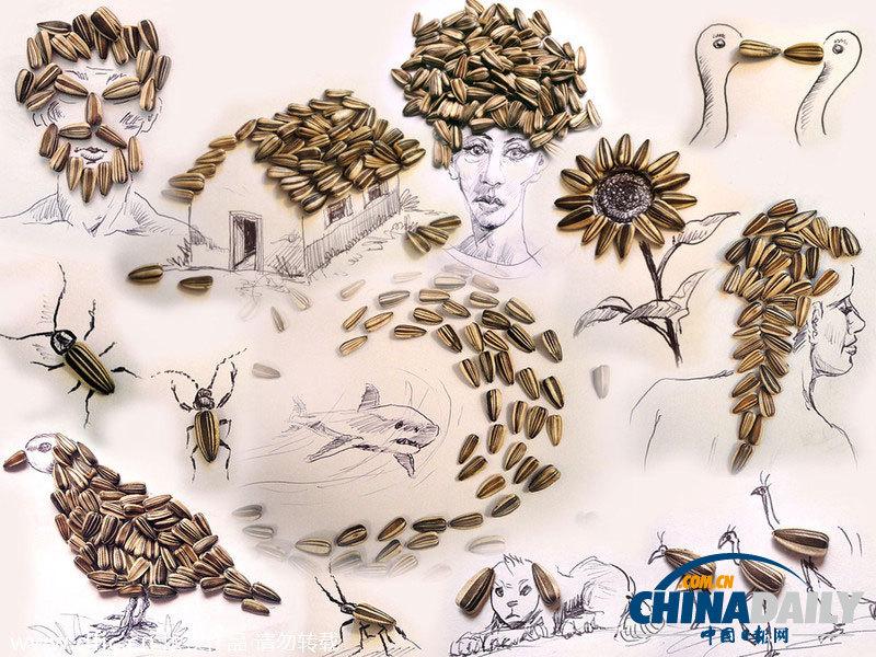 原标题:巴西艺术家趣味铅笔画 爆米花坚果剪刀亦能作画    新疆网讯 2014年2月10日报道,艺术家维克托努内斯把铅笔画与生活中的平凡物品相结合,创作出一幅幅令人惊叹的插画作品。他使用常见的事物如爆米花、坚果、葡萄、剪刀等来充当画面人物或动植物的一部分,各个栩栩如生,形态逼真。65岁的维克托努内斯来自巴西圣保罗,他从1971年开始一直从事广告设计及艺术指导的工作。(图片:东方IC)    2014年2月10日报道,艺术家维克托努内斯把铅笔画与生活中的平凡物品相结合,创作出一幅幅令人惊叹的插画作品