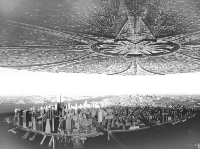 电影《独立日》中飞碟在城市上空投下巨大阴影的剧照