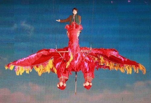 吴克羣鸟巢表演。