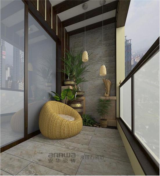 安華瓷磚仿木紋磚加勒比香檀陽臺裝修效果圖 仿木磚雅致陽臺 仿木紋磚的出現,加大了陽臺空間的抒情展示,從原來單一的功能變的多樣化。安華瓷磚的這款仿木紋名為加勒比香檀的磚結合時下大熱的現代簡約設計理念,增添雅氣的同時具有擴大居室空間的功能,使的整個居室光線更加明亮。