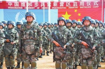 亚洲步兵区_26日,在南苏丹中国维和步兵营营区,维和官兵列队等候检阅.